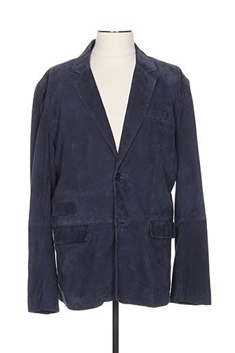 Veste en cuir bleu GIORGIO & MARIO pour homme