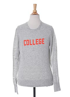 Pull col rond gris BELLEROSE pour fille