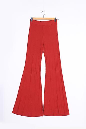 Pantalon casual orange BERSHKA pour femme