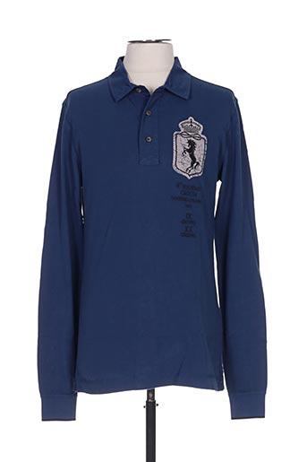 Polo manches longues bleu AERONAUTICA pour homme