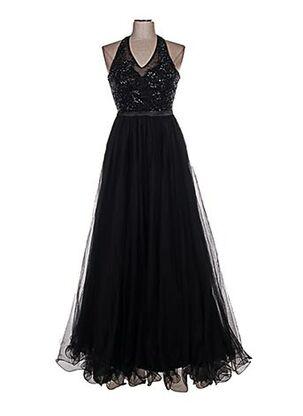 Robe longue noir FASHION NEW YORK pour femme