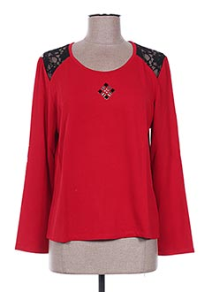 T-shirt manches longues rouge JEAN DELFIN pour femme