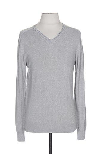 Pull col V gris DESIGN BY S.L pour homme