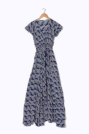 Robe longue bleu PALME pour femme