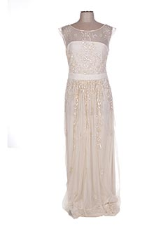 Robe longue beige GINA BACCONI pour femme