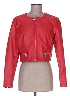 Veste simili cuir rouge FLY GIRL pour femme
