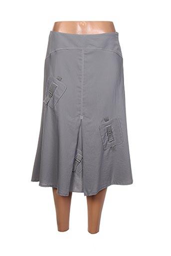 Jupe mi-longue gris FEMMES JE VOUS AIME pour femme