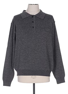 Pull col chemisier gris I.ODENA pour homme