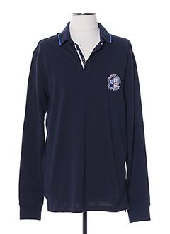 Polo manches longues bleu CAMBRIDGE pour homme