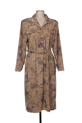 Robe mi-longue marron ISA COUTURE pour femme