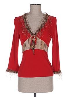 T-shirt manches longues rouge GANTEB'S pour femme