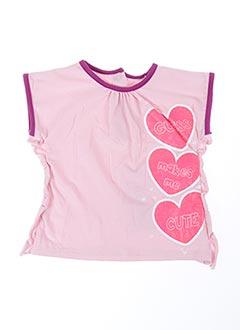 T-shirt manches courtes rose GUESS pour fille