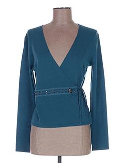 Gilet manches longues bleu LAUREL pour femme