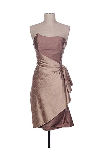 Robe mi-longue marron CLAIRMODEL pour femme