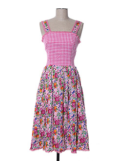 Robe mi-longue rose ZOE LA FEE pour femme