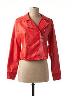 Veste simili cuir rouge MIA SOANA pour femme