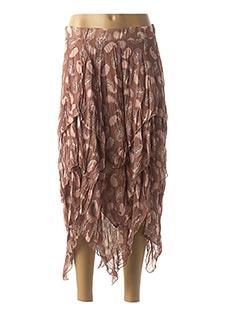 Jupe mi-longue marron ECLIPSE pour femme