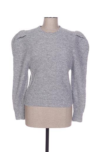 Pull col rond gris FLAM MODE pour femme