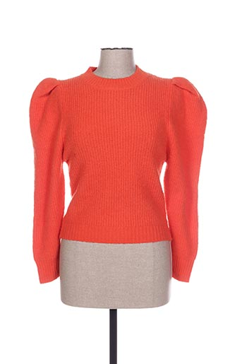 Pull col rond orange FLAM MODE pour femme