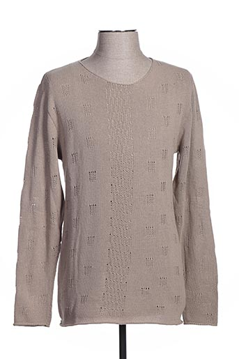 Pull col rond beige BLY03 pour homme