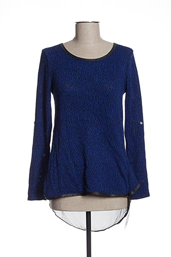 Pull col rond bleu ANABELLE pour femme