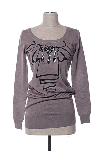 Pull col rond marron ANABELLE pour femme