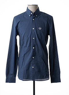 Chemise manches longues bleu FRED PERRY pour homme