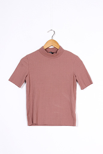 T-shirt manches courtes rose BERSHKA pour femme