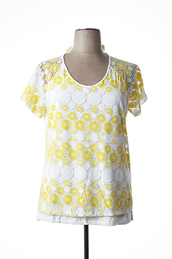 T-shirt manches courtes jaune FELINO pour femme