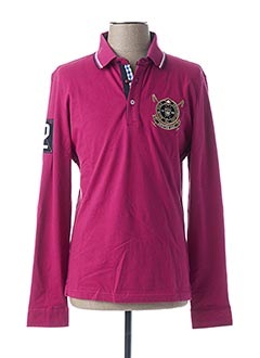 Polo manches longues rose ARISTOW pour homme