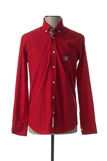 Chemise manches longues rouge ARISTOW pour homme