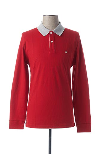Polo manches longues rouge ARISTOW pour homme