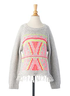 Pull col rond gris BILLIEBLUSH pour fille