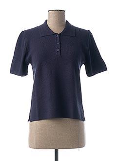 Pull col chemisier bleu I.ODENA pour femme