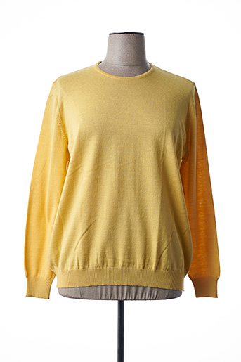 Pull col rond jaune I.ODENA pour femme