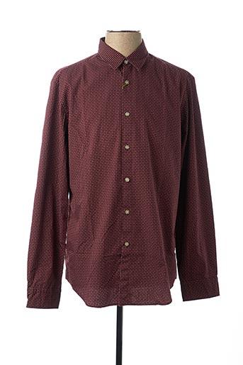 Chemise manches longues rouge HUGO BOSS pour homme
