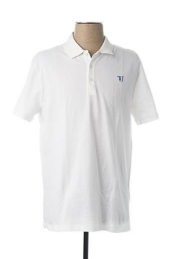 Polo manches courtes blanc TRUSSARDI JEANS pour homme