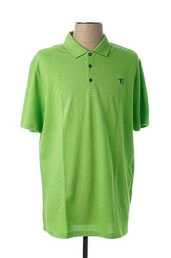 Polo manches courtes vert TRUSSARDI JEANS pour homme