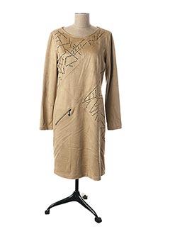 Robe mi-longue beige PAUSE CAFE pour femme