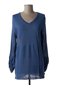 Pull tunique bleu CAPUCCINO pour femme