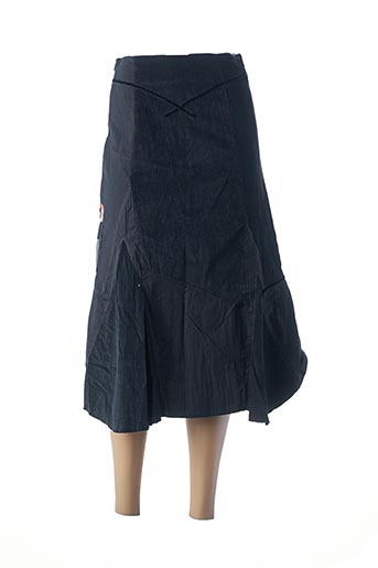 Jupe mi-longue noir FILLE DES SABLES pour femme
