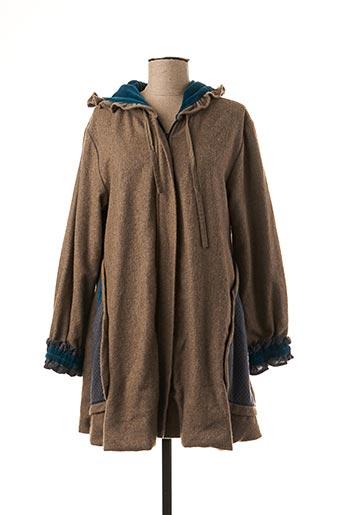 Manteau court beige NID D'ABEILLE pour femme