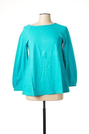 T-shirt manches longues bleu NID D'ABEILLE pour femme