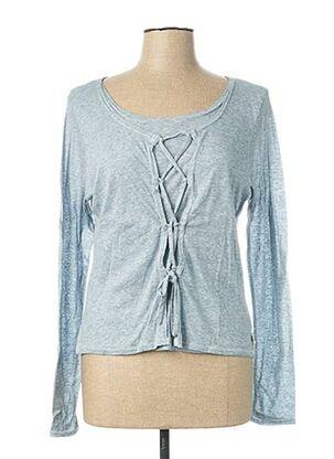 T-shirt manches longues bleu CATY LESCA pour femme