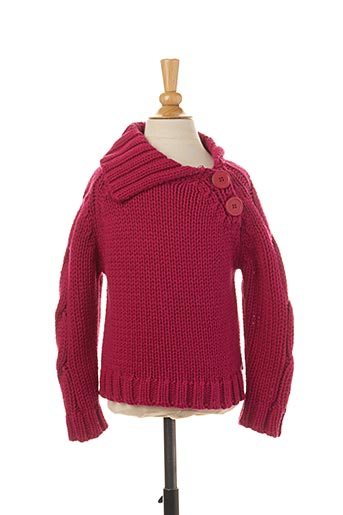 Pull col V rose JEAN BOURGET pour fille