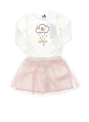 Top/jupe rose 3 POMMES pour fille