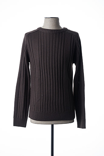 Pull col rond marron TBS pour homme