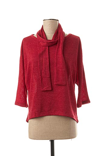 Pull col rond rouge ELEONORA AMADEI pour femme