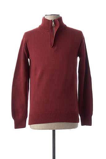 Pull col cheminée rouge TIBET pour homme