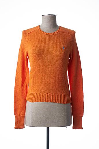 Pull col rond orange RALPH LAUREN pour femme